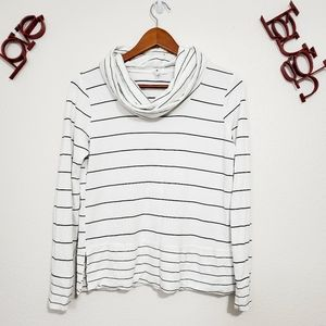Cable & Gauge Sweater Top  Black white stripe Long